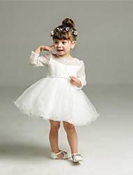 Ball Gown Short / Mini Flower Girl Dress - Organza Long Sleeves Jewel Neck with Ribbon by YDN