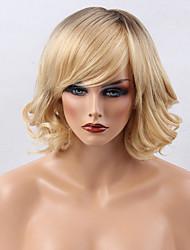 prevalente colore gardiente frangia parziale parrucca di capelli umani lunghi capelli ricci medio capelli donna