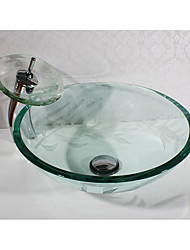 cheap -Contemporary Round Sink Material is Tempered Glass Bathroom Sink