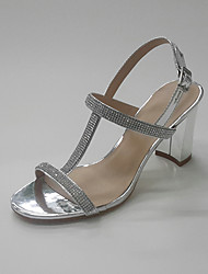 Women's Sandals Summer Fall Toe Ring Club Shoes Leatherette Office & Career Party & Evening Dress Chunky Heel Rhinestone Silver Gold