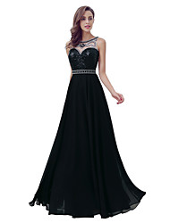 Sheath / Column Jewel Neck Floor Length Chiffon Formal Evening Dress with by Sarahbridal