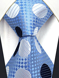 cheap -YXL5 Men's Neckties Laight Blue Polka Dot 100% Silk Business Dress Casual For Men
