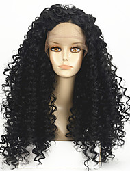 High Density Natural Black Wig Heat Resistant Synthetic Hair Wig Curly Wig Lace Front Wig