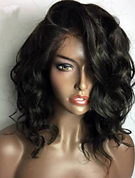cheap -Human Hair Lace Front Wig Brazilian Hair Wavy Short Bob 130% Density With Baby Hair Glueless For Black Women Short Medium Women's Human