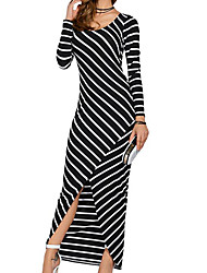 cheap -Women's Sheath Dress - Striped Maxi