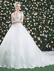 cheap -Ball Gown Off-the-shoulder Cathedral Train Lace Tulle Wedding Dress with Sequin Crystal Detailing by QZ