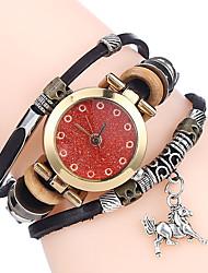 cheap -Top Women Premium Genuine Leather Watch Triple Bracelet Watch Horse Charm Wristwatch Fashion Para Femme