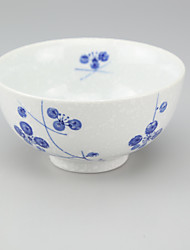 High Temperature Porcelain Hand Painted Little Blue Flower Rice Bowl