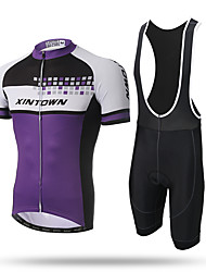 cheap -XINTOWN Cycling Jersey with Bib Shorts Men's Short Sleeves Bike Bib Tights Jersey Quick Dry Front Zipper Breathable Soft Sweat-wicking