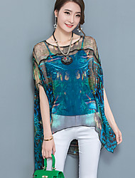 Women's Going out Street chic Summer Blouse,Print Round Neck Short Sleeve Nylon Sheer