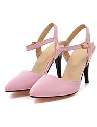 cheap -Women's Sandals Summer Fall Club Shoes Comfort Ankle Strap PU Wedding Office & Career Party & Evening Stiletto Heel Buckle Walking