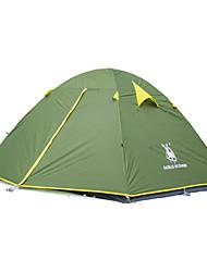 Недорогие -3-4 человека Световой тент Двойная Палатка Однокомнатная Складной тент Влагонепроницаемый Водонепроницаемость С защитой от ветра