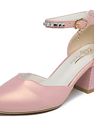 cheap -Women's Heels Club Shoes PU Spring Summer Casual Office & Career Dress Club Shoes Buckle Chunky Heel White Black Blushing Pink Light Blue