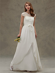 cheap -A-Line Illusion Neckline Floor Length Chiffon Lace Wedding Dress with Lace Button by LAN TING BRIDE®