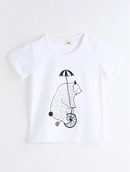billige -Pige T-shirt Daglig Geometrisk, Bomuld Sommer Kortærmet Hvid
