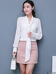 женская работа простая рубашка, твердый v шея длинный рукав другие мода, шифон