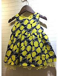cheap -Girl's Lattice Dress, Cotton Summer Short Sleeves Floral Yellow