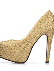 preiswerte -Damen Schuhe PU Frühling Sommer Komfort Neuheit High Heels Walking Plattform Kristallabsatz Runde Zehe Strass Kristall Schleife Perle