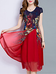 cheap -Women's Going out Plus Size Vintage Sophisticated A Line Chiffon Dress,Print Sweetheart Midi Short Sleeves Polyester Summer Mid Rise