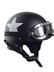 cheap -Motorcycle Helmets With Goggles Visor Vintage Motocross Half Face Helmet Carbon White Star 55cm-60cm For Harley kawasaki