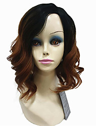 cheap -Short Natural Wave Brown  Ombre Bob Side Swept Bangs Synthetic Wigs