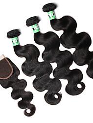 cheap -Indian Hair Body Wave Human Hair Weaves 4pcs Soft Natural Color Hair Weaves Daily