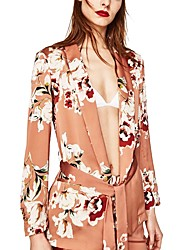 Women's Casual/Daily Party Sexy Spring Fall Coat,Floral Shirt Collar Long Sleeve Long Acrylic Jacquard