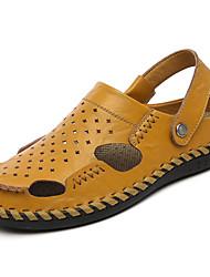 Men's Loafers & Slip-Ons Spring Fall Comfort Cowhide Casual Flat Heel Stitching  Light Brown Dark Blue Black Walking