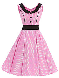 cheap -Women's Rockabilly Vintage Dress Pink White Mini Polka Dot Round Neck Knee-length Sleeveless Cotton All Seasons Mid Rise