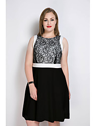 cheap -Really Love Women's Party Work Plus Size Vintage Sexy Street chic A Line Sheath Lace Dress,Color Block Round Neck Midi Sleeveless Cotton Polyester