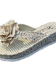 Women's Sandals Summer Comfort PU Outdoor Flat Heel Satin Flower Blue Red Beige Walking