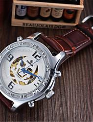 Per uomo Orologio alla moda orologio meccanico Carica automatica Pelle Banda Nero Marrone