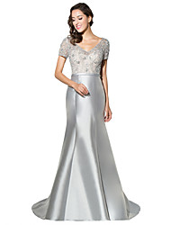 cheap -Mermaid / Trumpet V-neck Sweep / Brush Train Satin Formal Evening Dress with Beading by Sarahbridal
