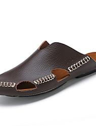 Herren-Sandalen-Lässig-Leder-Flacher Absatz-Komfort-