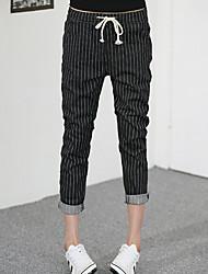 Feminino Moda de Rua Cintura Alta Micro-Elástica Chinos Calças,Reto Listrado