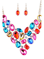 Europe And The Middle East Color Diamond Necklace Earrings Bride Set