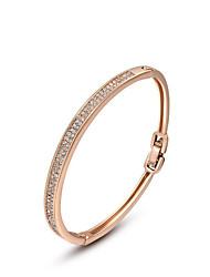baratos -Mulheres Cristal Bracelete - Rosa ouro, Cristal Original, Fashion Pulseiras Ouro Rose Para Casamento Festa Diário