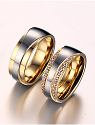 cheap -Women's Couple Rings AAA Cubic Zirconia Synthetic Diamond Love Bridal Zircon Titanium Steel Gold Plated Love Jewelry Wedding Anniversary