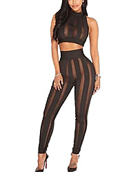 Women's Going out Daily Club Simple Street chic Active Bare Midriff See-through Tank Top Pant SuitsSolid Crew Neck Mesh Micro-elastic