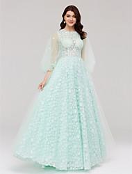 Linha A Princesa Ilusão Decote Longo Renda Tule Evento Formal Vestido com Flor(es) Faixa de Huaxirenjiao