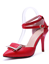 Women's Sandals Summer Fall Club Shoes Comfort Ankle Strap PU Wedding Party & Evening Dress Stiletto Heel Buckle Red Black White Walking