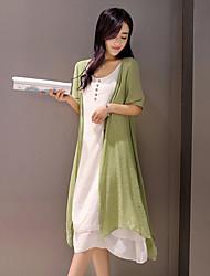 Feminino Solto Vestido,Casual Vintage Simples Temática Asiática Sólido Decote Redondo Altura dos Joelhos Meia Manga Raiom Poliéster