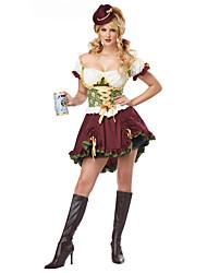 cheap -Maid Costume Bavarian Oktoberfest Cosplay Costume Women's Halloween Oktoberfest Festival / Holiday Halloween Costumes Dark Red Solid Color
