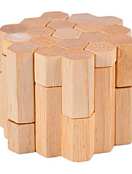 cheap -Wooden Puzzles IQ Brain Teaser Luban Lock Cylindrical IQ Test Wood Unisex Gift