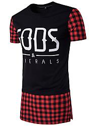 Hombre Simple Casual/Diario Camiseta,Escote Redondo Cuadrícula Manga Corta Algodón