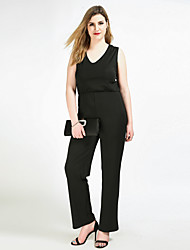 cheap -Really Love Women's Plus Size Club Work Vintage Jumpsuit - Solid, Pure Color V Neck