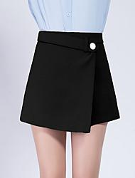 Women's High Rise Micro-elastic Shorts Pants,Simple Slim Beaded Solid