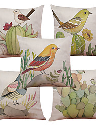 Set of 5 Modern Simple Cactus Bird Pattern  Linen Pillowcase Sofa Home Decor Cushion Cover (18*18inch)
