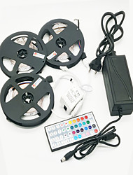 ZDM 15M(3*5M) Waterproof 72W 900X2835 RGB LEDs Strip Flexible Light with 44Key IR Remote Controller Kit and 12V 6A EU/US/AU Power Supply AC110-240V