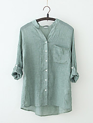Women's Going out Casual/Daily Vintage Cute Blouse,Solid V Neck Linen Medium